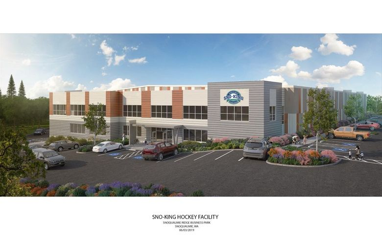 Latest rendering of a 72,500-square-foot arena planned for Snoqualmie by early summer of 2020. The venue will contain two ice rinks at a cost of up to $25 million in a joint partnership between the Sno-King amateur hockey association and a private developer. (Photo courtesy of Sno-King)