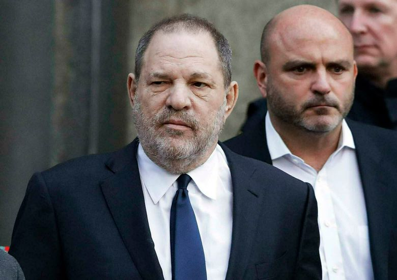 FILE – In this Thursday, Dec. 20, 2018, file photo, Harvey Weinstein, center, leaves New York Supreme Court in New York. Harvey Weinstein's lawyers are arguing against the sex trafficking claims of an actress who the disgraced movie-making mogul says is capitalizing on the legal successes of other women. The lawyers filed papers Friday, June 21, 2019 in Manhattan federal court to try to toss out the trafficking claims made by Wedil David. (AP Photo/Mark Lennihan, File)