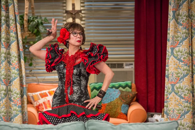 """This image released by Netflix shows Rita Moreno in a scene from """"One Day At A Time."""" The series, a remake of the 1970's-80's Norman Lear TV series, centers on a Cuban-American family. The series, which was canceled by Netflix, will continue with a new 13-episode fourth season premiering on Pop TV in 2020. (Michael Yarish/Netflix via AP)"""