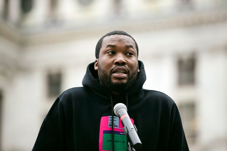 FILE – In this April 2, 2019, file photo, rapper Meek Mill speaks at a gathering in Philadelphia to push for drastic changes to Pennsylvania's probation system. On Monday, June 3 a Pennsylvania court granted Mill a July 16 hearing in the appeal of his 2008 conviction on gun and drug charges (AP Photo/Matt Rourke, File)