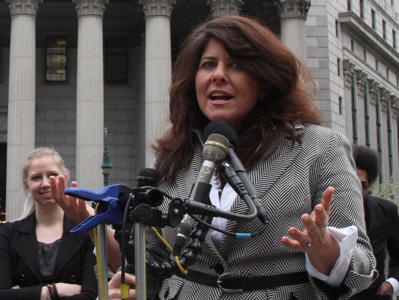 """FILE – In this March 29, 2012 file photo author and political consultant Naomi Wolf speaks to reporters during a news conference in New York.  Wolf's U.S. publisher is postponing the release of her new book, """"Outrages,"""" after a BBC interviewer challenged some of her findings. Wolf is openly objecting to the delay. Houghton Mifflin Harcourt announced that """"new questions"""" had come up about """"Outrages,"""" originally scheduled to come out next week. It already has been published in the United Kingdom.  On Friday, June 14, 2019, Wolf tweeted that she made what she thought were the needed changes and that she believed her book's core findings remained valid. """"I strongly objected to this decision,"""" she wrote.(AP Photo/Mary Altaffer)"""