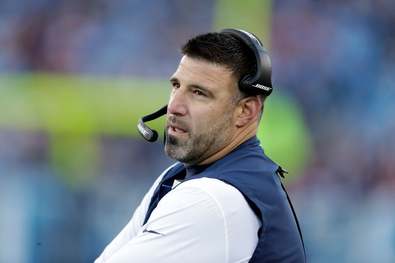 FILE – In this Dec. 22, 2018, file photo, Tennessee Titans head coach Mike Vrabel watches from the sideline during the first half of an NFL football game against the Washington Redskins in Nashville, Tenn. The Tennessee Titans wrapped up their three-day mandatory minicamp not on a football field but with a field trip to hit golf balls. Vrabel says the trip was the result of evaluating where the Titans are at the end of their offseason program and a last attempt to keep everyone healthy for training camp. (AP Photo/James Kenney, File)