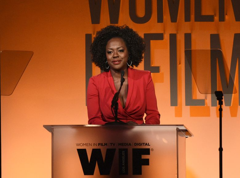 """FILE – This June 12, 2019 file photo shows Viola Davis speaking at the Women in Film Annual Gala in Beverly Hills, Calif. Davis believes in equality across the board and calls her JuVee Productions a """"walking metaphor"""" of inclusion. (Photo by Chris Pizzello/Invision/AP, File)"""