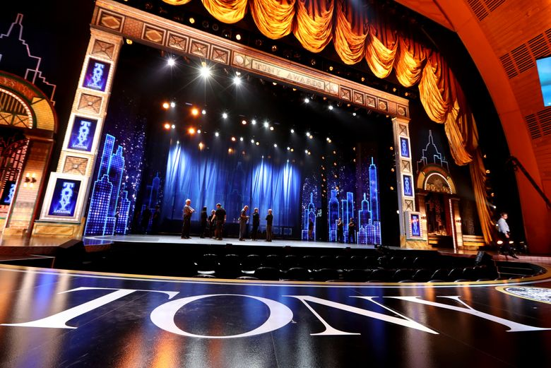 File- This June 10, 2019, file photo shows a view of the stage at the 72nd annual Tony Awards at Radio City Music Hall in New York. Exposure at the Tony Awards, last year's telecast was seen by 6.32 million people, can provide a key boost to a show's box-office receipts. (Photo by Michael Zorn/Invision/AP, File)