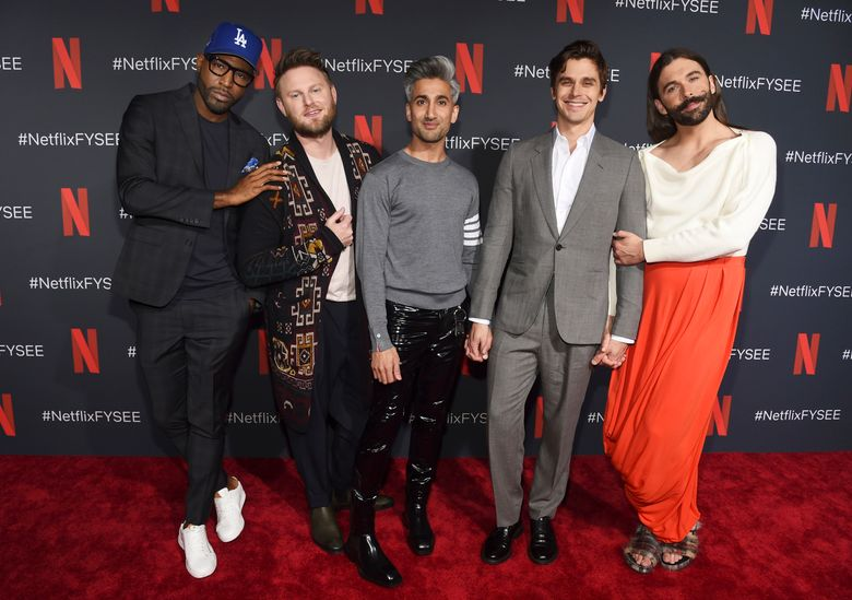 """FILE – In this May 16, 2019 file photo, Karamo Brown, from left, Bobby Berk, Tan France, Antoni Porowski and Jonathan Van Ness arrive at a For Your Consideration event for """"Queer Eye"""" at Raleigh Studios in Los Angeles. Netflix's show """"Queer Eye"""" says it's bringing fabulousness to the masses for two more seasons. The streaming service announced Tuesday, June 18, that season four will debut July 19. (Photo by Chris Pizzello/Invision/AP, File)"""