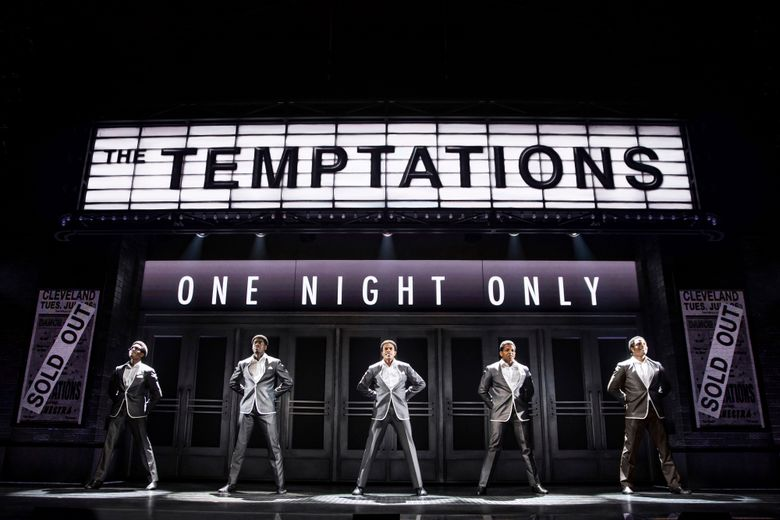 """This image released by DKC O&M Co. shows from left to right, Ephraim Sykes, Jawan M. Jackson, Jeremy Pope, Derrick Baskin and James Harkness in a scene from """"Ain't Too Proud — The Life and Times of the Temptations."""" """"The jukebox musical which goes into Sunday's Tony Awards with 12 nominations, charts the rise, sacrifices and challenges facing the 1950s group that sang """"Baby Love"""" and """"My Girl."""" Audiences have noted its echoes with Black Lives Matter and racial tensions today.  (Matthew Murphy/DKC O&M Co. via AP)"""