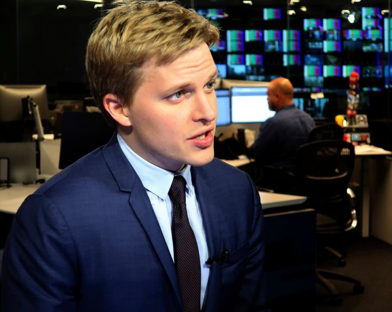 FILE – In this Friday, July 27, 2018, file photo, Ronan Farrow, a contributing writer for the New Yorker, speaks with reporters at The Associated Press headquarters in New York. Farrow accepted a Mirror Award for media reporting from Syracuse University, Thursday, June 13, 2019, by paying tribute to journalists and industry leaders at a Manhattan luncheon for keeping the media honest and transparent. (AP Photo/Ted Shaffrey, File)