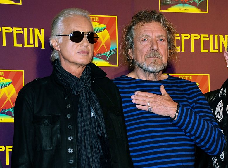 """FILE – In this Oct. 9, 2012 file photo, Led Zeppelin guitarist Jimmy Page, left, and singer Robert Plant appear at a news conference ahead of the worldwide theatrical release of """"Celebration Day,"""" a concert film of their 2007 London O2 arena reunion show, in New York. A panel of 11 judges from the 9th U.S. Circuit Court of Appeals agreed Monday, June 10, 2019, to hear Led Zeppelin's appeal in a copyright lawsuit alleging the group stole its 1971 rock epic from an obscure 1960s instrumental. (Photo by Evan Agostini/Invision/AP, File)"""