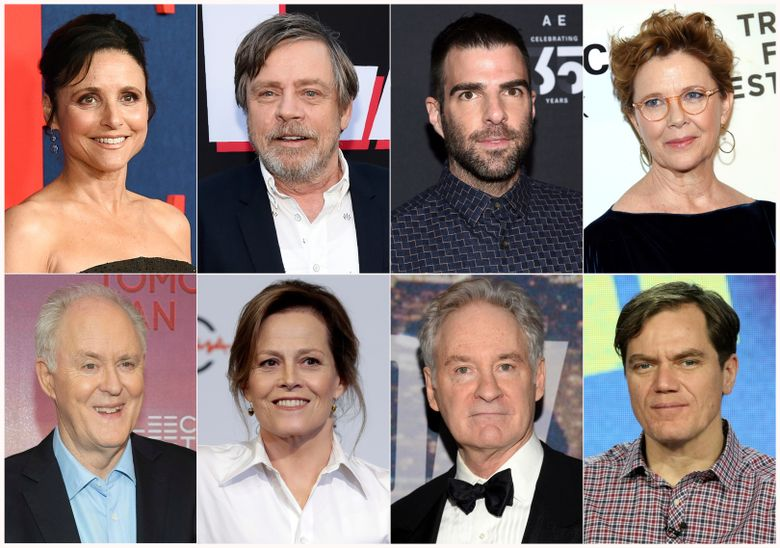 """This combination photo shows actors, top row from left, Julia Louis-Dreyfus, Mark Hamill, Zachary Quinto, Annette Bening and bottom row from left, John Lithgow, Sigourney Weaver, Kevin Kline and Michael Shannon, who paricipated in a live reading of passages from the Mueller report for """"The Investigation: A Search for the Truth in Ten Acts."""" (AP)"""