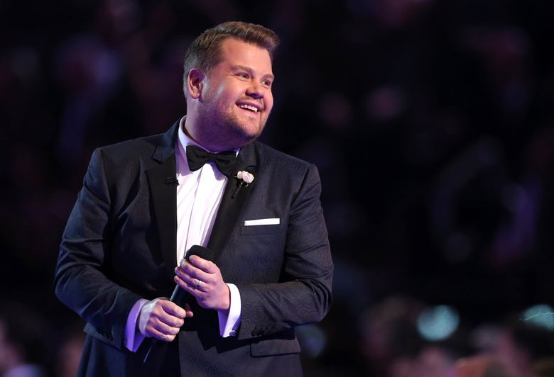 """File-This Jan. 28, 2018, file photo shows James Corden hosting the 60th annual Grammy Awards at Madison Square Garden in New York. Corden steps back into the role of Tony Award host this weekend, not planning anything too political and not worried about any online snark. """"I hope people will find joy in it,"""" said host of """"The Late Late Show With James Corden"""" and a Tony winner in his own right. """"We just want to make a show that is an absolute joyous celebration of a group of people that I think should be celebrated at the minimum once a year on television."""" (Photo by Matt Sayles/Invision/AP, File)"""
