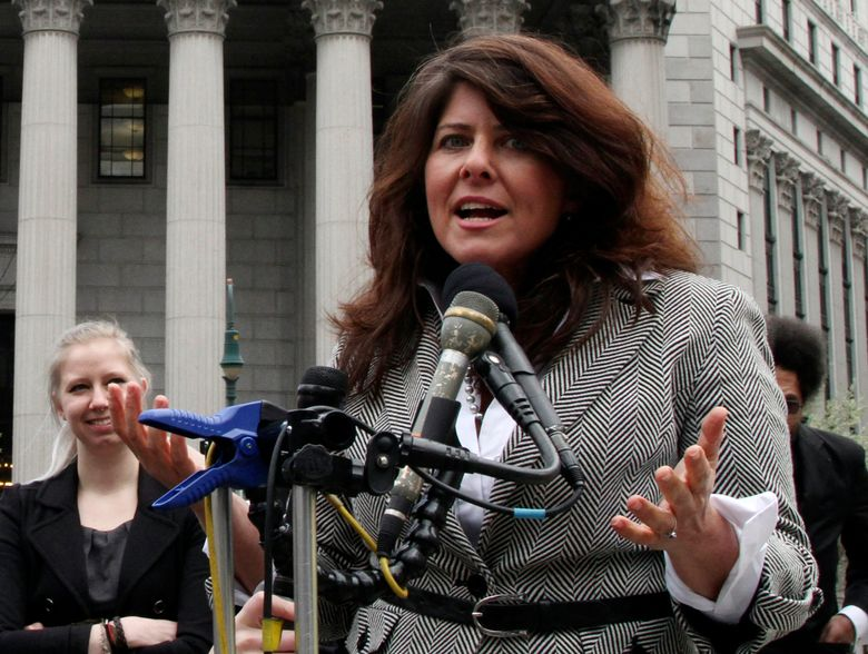 """FILE – In this March 29, 2012, file photo, author and political consultant Naomi Wolf speaks to reporters during a news conference in New York. Wolf says she has no hard feelings about the BBC interviewer who pointed out errors in her new book, """"Outrages,"""" which has been delayed for release in the U.S. against her wishes. (AP Photo/Mary Altaffer)"""