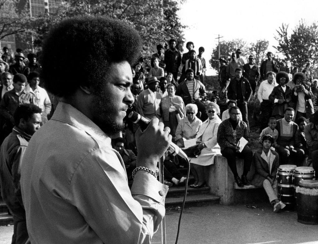 Elmer Dixon, who co-founded the Seattle chapter of the Black Panther Party, in May 1970. Dixon says he's mostly agnostic on the question of whether the moon landing was staged. He simply questions why so much money was thrown at the Apollo project and the space race when there were many issues raced by the black community that went unaddressed. (Peter Liddell / The Seattle Times, file)