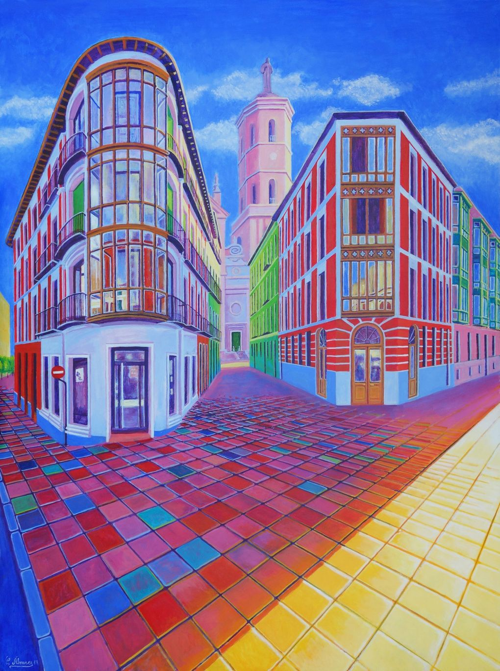 """Conchi Alvarez' """"Calle Cascajares"""" (acrylic on panel, 2019) is one of the works that STOA Gallery, from Malaga, Spain, will be showing at Seattle Art Fair 2019. (Courtesy of STOA Gallery)"""