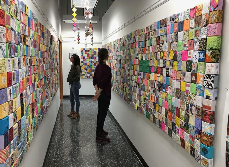 Three thousand Soul Boxes are on display through Aug. 8 at the School of Visual Concepts in Seattle to represent the approximate number of people who die by gunfire in the U.S. in an average month. (Emily Watrous)