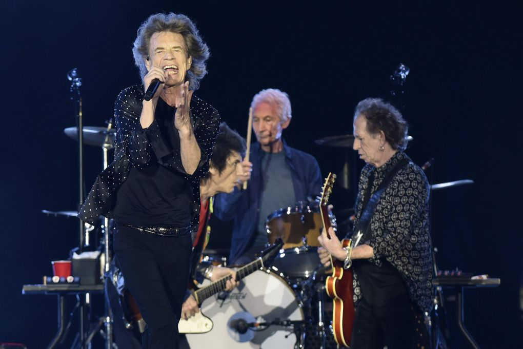 The Rolling Stones (Mick Jagger, Ronnie Wood, Charlie Watts and Keith Richards) return to Seattle for the first time since 2005 when they play CenturyLink Field on Aug. 14. (Bob Self / The Florida Times-Union via AP)