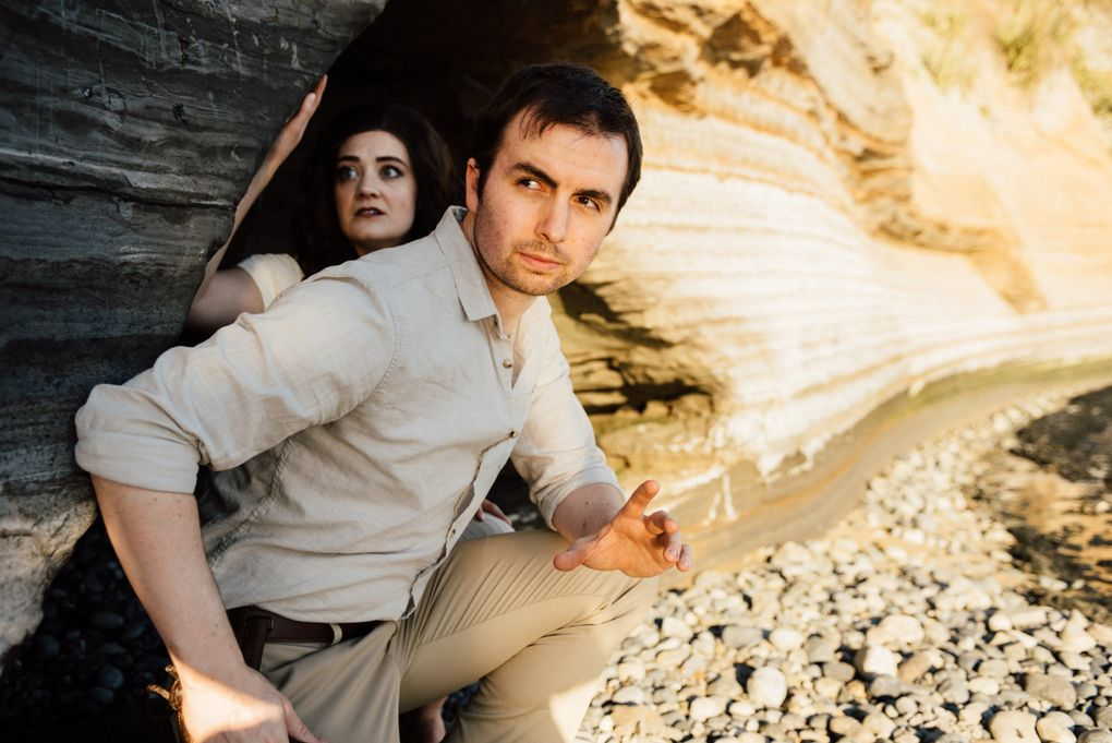 """Casey Raiha and Helen Roundhill in """"Indy Jones and the Raiders of the Last Temple of the Doomed Ark,"""" a satire of the whip- and wise-cracking film franchise by sketch comedians from The Habit at Seattle Public Theater. (Seth Halleran)"""