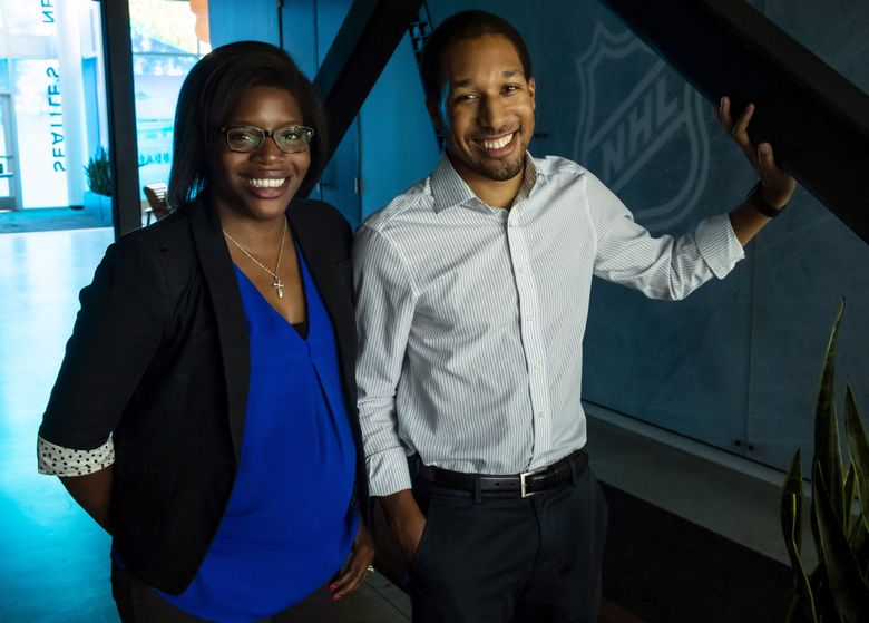 NHL Seattle's Kendall Boyd-Tyson and Kyle Boyd, who are siblings, are photographed at the season-ticket and suites preview showroom at the Pacific Science Center in Seattle Tuesday, July 23, 2019. (Erika Schultz / The Seattle Times)