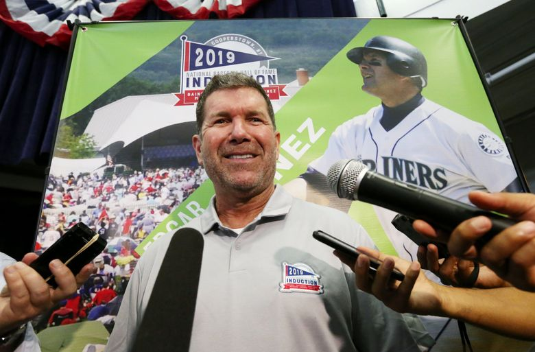 National Baseball Hall of Fame inductee Edgar Martinez talks to the news media Saturday, July 20, 2019 in Cooperstown, NY. (Ken Lambert / The Seattle Times)