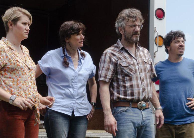 "The cast of Lynn Shelton's ""Sword of Trust"" includes, from left, Jillian Bell, Michaela Watkins, Marc Maron and Jon Bass. (Courtesy of IFC Films)"