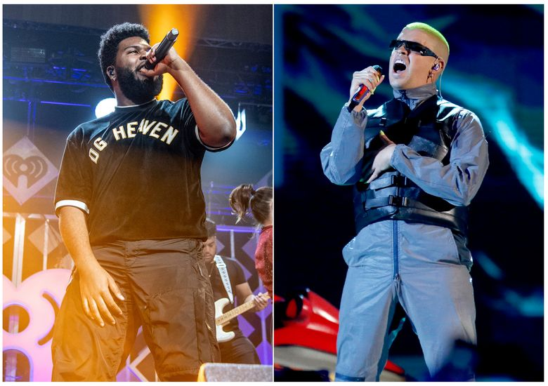 """This combination photo shows Khalid performing at Y100's Jingle Ball in Sunrise, Fla. on Dec. 16, 2018, left, and Bad Bunny performing at the Billboard Latin Music Awards in Las Vegas on April 25, 2019. Apple Music announced Monday, July 1, 2019, that a tour featuring artists from its playlist, including Khalid and Bad Bunny will perform on the """"Up Next Live"""" tour. (AP Photo)"""