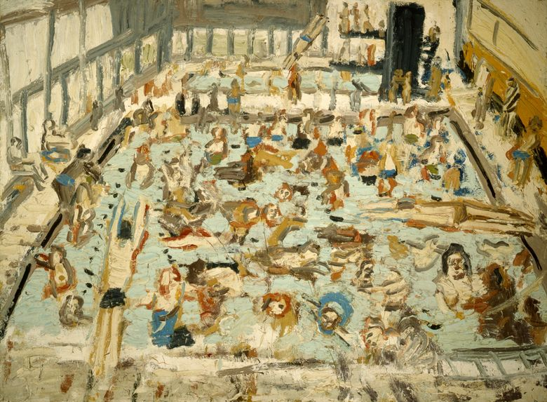 This image provided by Annely Juda Fine Art shows a painting by the artist Leon Kossoff. British artist Leon Kossoff, who painted his home city of London in all its moody glory, has died. He was 92. Los Angeles' LA Louver gallery, which represents Kossoff, announced his death Friday, July 5, 2019. No cause was given. (Annely Juda Fine Art via AP)