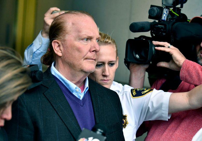 FILE – In this May 24, 2019 file photo, chef Mario Batali departs after pleading not guilty, at municipal court in Boston, to an allegation that he forcibly kissed and groped a woman at a Boston restaurant in 2017. Batali waived his right to appear at a hearing on Friday, July 23 in Boston, and a hearing on defense motions was scheduled at a later date. (AP Photo/Josh Reynolds, File)