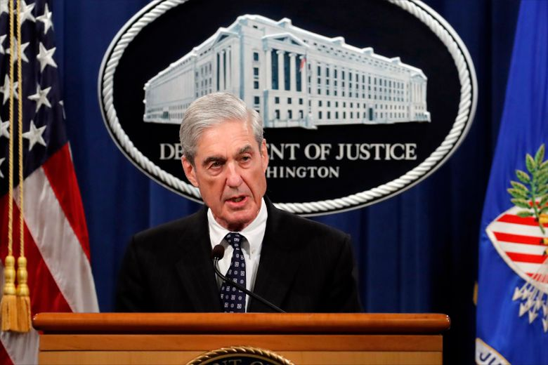"""FILE – This May 29, 2019 file photo shows special counsel Robert Mueller speaking about the Russia investigation at the Department of Justice in Washington. MSNBC contributor Joyce Vance, a former federal prosecutor, apologized and deleted a tweet that appeared to confuse readers about Fox News Channel's plans to cover Mueller's testimony before Congress this week. Vance said on Twitter Sunday, July 21, that Fox isn't airing Mueller's testimony because President Donald Trump is afraid of what will happen to his supporters if they heard Mueller. But Fox is airing the testimony Wednesday, along with ABC, CBS , NBC and the cable new news networks. Vance tweeted that while she meant it ironically, """"my apologies to anyone I confused."""" (AP Photo/Carolyn Kaster, File)"""