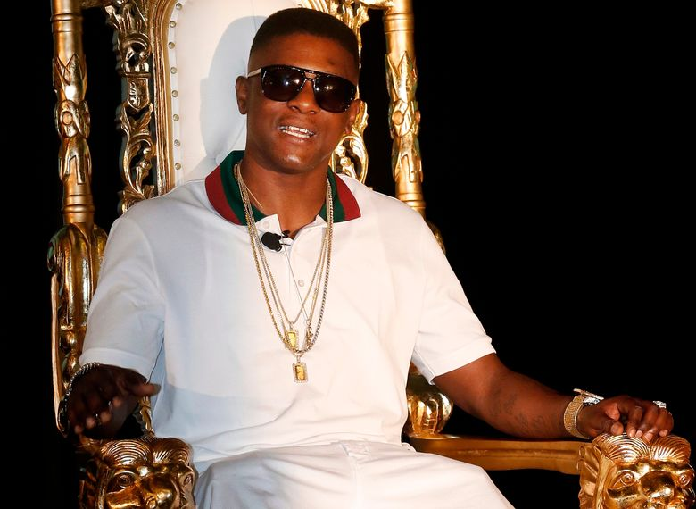 FILE – In this March 10, 2014, file photo, rapper Boosie Badazz appears at a news conference in New Orleans. The security guard who used pepper spray on a crowd including rapper Boosie Badazz says he did so as he was trying to get the group to leave and a man was trying to start a fight with him. In an interview with The Sun Herald, 55-year-old Glen Kerley denied allegations that he used racial slurs. He spoke with the newspaper after winning a $233,000 default judgment against the Louisiana rapper. (AP Photo/Bill Haber, File)