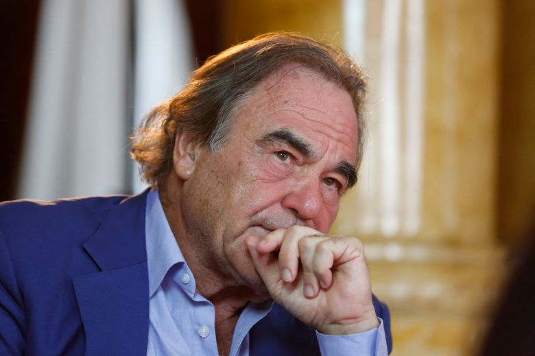 FILE – In this Aug. 15, 2017, file photo, Oliver Stone is shown during interview with Associated Press in Sarajevo, Bosnia. Oliver Stone has some memories to share, not all of them happy. Houghton Mifflin Harcourt announced Monday, July 15, 2019, that it had acquired a memoir by the Oscar-winning filmmaker. The book, currently untitled, is scheduled for Fall 2020. (AP Photo/Amel Emric, File)