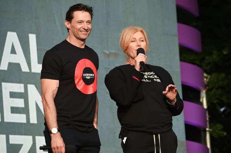 FILE – In this Sept. 29, 2018, file photo, actor Hugh Jackman and his wife, Deborra-Lee Furness, host the 2018 Global Citizen Festival in New York's Central Park. The couple will return as hosts of the annual festival on Sept. 28, 2019. (Photo by Evan Agostini/Invision/AP)