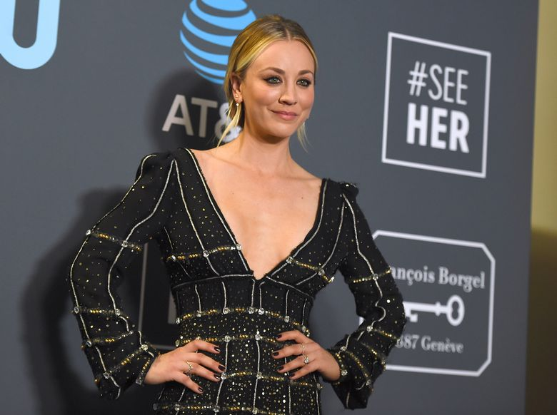 """FILE – In this Jan. 13, 2019, file photo, Kaley Cuoco poses in the press room at the 24th annual Critics' Choice Awards at the Barker Hangar in Santa Monica, Calif. Cuoco is making a big move after wrapping 12 seasons with """"The Big Bang Theory."""" Warner Bros. Television Group said Monday, July 1, 2019, that Cuoco has signed an exclusive, multi-year deal with the company. (Photo by Jordan Strauss/Invision/AP, File)"""