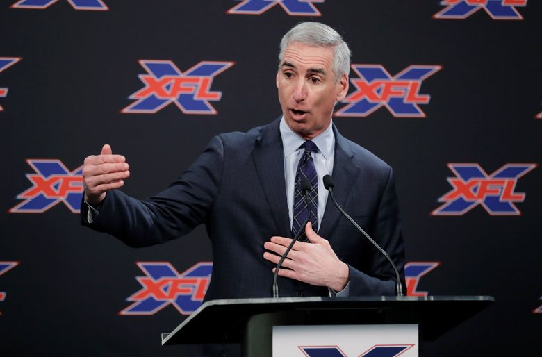 XFL commissioner Oliver Luck, announcing Jim Zorn as the Seattle Dragons coach in July, was back in Seattle on Saturday for the team's open practice. (AP Photo/Ted S. Warren, File)