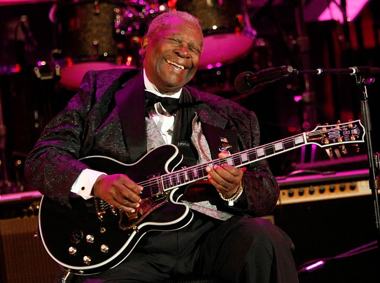 B.B. King performs at the opening night of the 87th season of the Hollywood Bowl in Los Angeles.  Julien's Auctions announced Tuesday, July 23, 2019,  that King's black Gibson ES-345 prototype guitar is among the items from his estate that will go up for bid on Sept. 21. Julien's says Gibson gave King the instrument for his 80th birthday.  (AP Photo/Dan Steinberg, 2008 File)