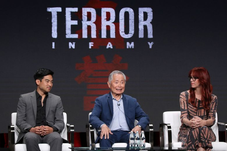 """Actors Derek Mio, left, and George Takei and costume designer JR Hawbaker participate in AMC's """"The Terror: Infamy"""" panel at the Television Critics Association Summer Press Tour in Beverly Hills, California, last month. (Willy Sanjuan / Invision / The Associated Press)"""