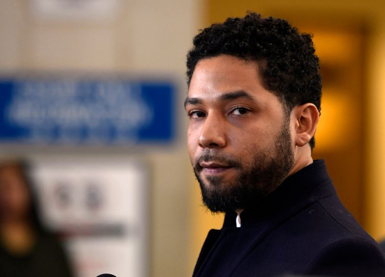 FILE – In this March 26, 2019, file photo, actor Jussie Smollett talks to the media before leaving Cook County Court after his charges were dropped, in Chicago. On Friday, July 19, 2019, lawyers for Smollett filed motions contending the actor was the victim of an attack in an effort to convince a judge to reverse his decision to appoint a special prosecutor in the case. (AP Photo/Paul Beaty, File)