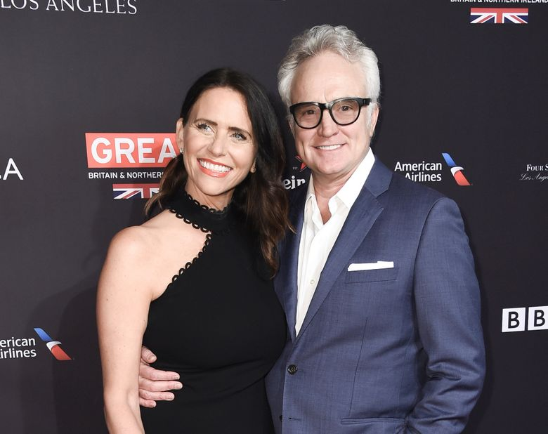 FILE – This Jan. 6, 2018 file photo shows Amy Landecker and Bradley Whitford at the 2018 BAFTA Los Angeles Awards Season Tea Party in Los Angeles. Landecker said, Thursday, July 18, 2019, she wed Whitford. The got married by political activist Ady Barkan at the courthouse in Santa Barbara. (Photo by Richard Shotwell/Invision/AP, File)