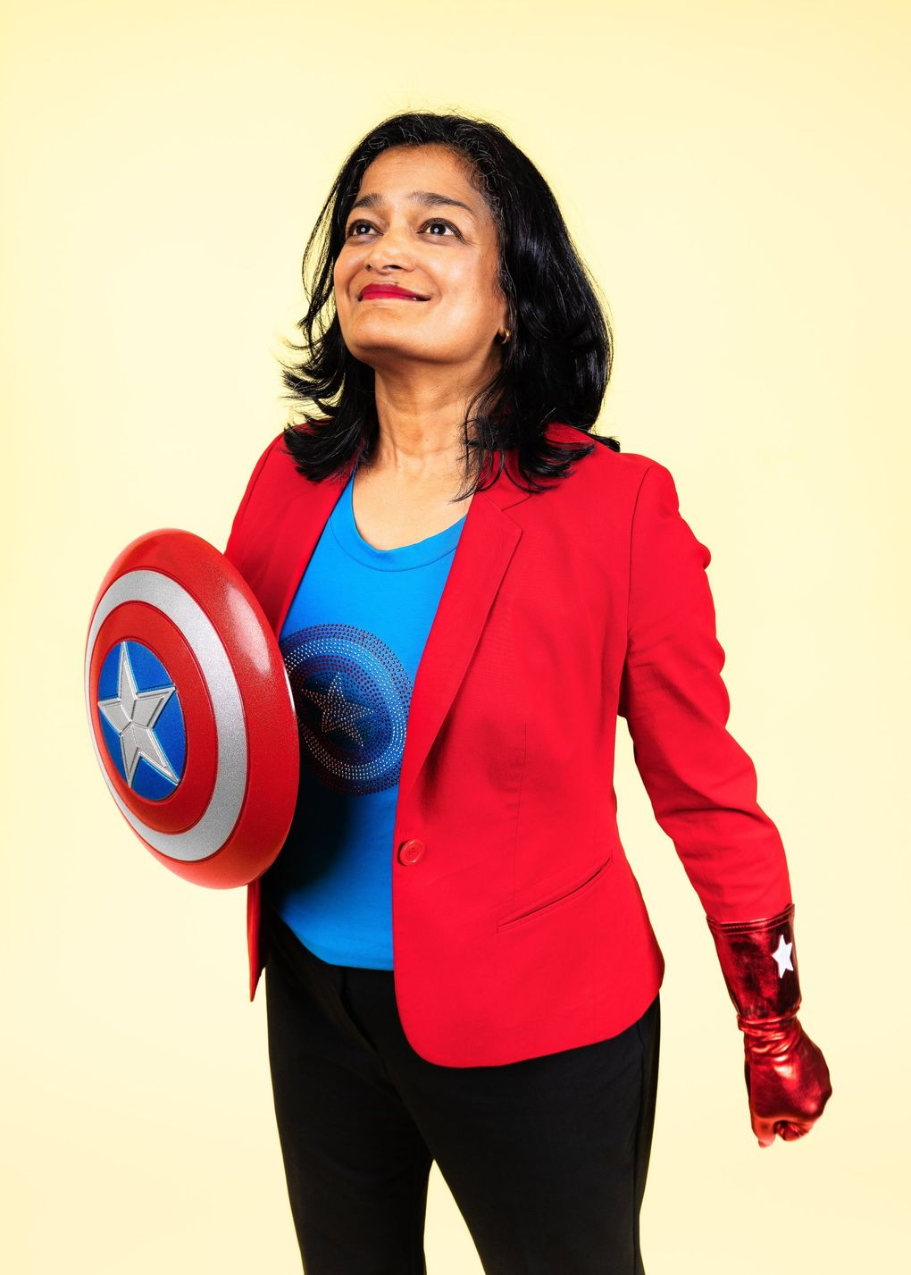 """Congresswoman Pramila Jayapal, D-Seattle, says in the exhibit: """"Sometimes people ask me why I don't just focus on one issue, and why I'm working on so many things, and I respond that I am intersectional. I am not a woman on Monday and an immigrant on Tuesday, a mom on Wednesday and a worker on Thursday. I'm all of those things all of the time."""" (Nate Gowdy)"""