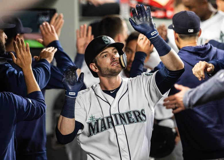 Mitch Haniger against the Oakland Athletics on Tuesday, May 14, 2019 at T-Mobile Park in Seattle, WA. (Dean Rutz / The Seattle Times)