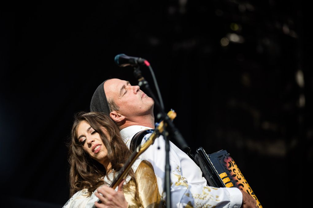 Krist Novoselić and Jillian Raye, with Giants in the Trees, open for the Foo Fighters during a concert at Safeco Field in 2018. (Rebekah Welch / The Seattle Times)