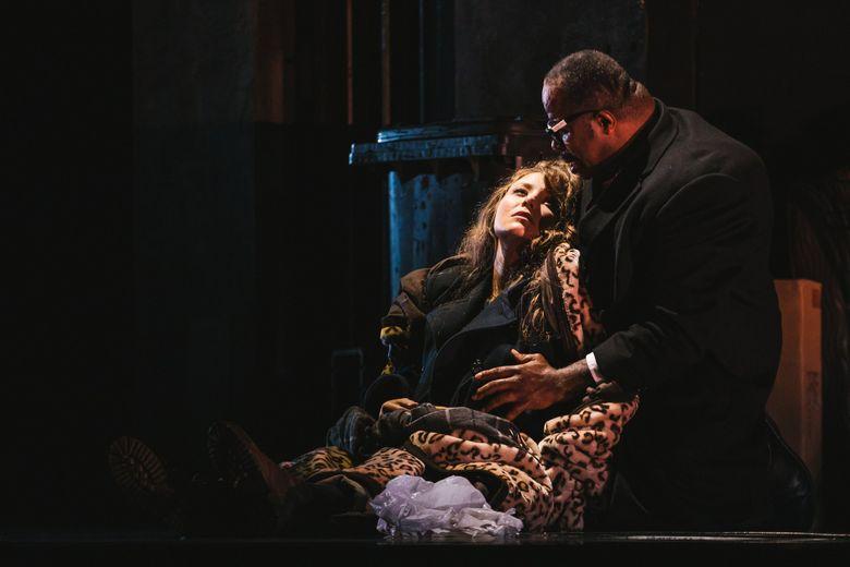 """Madison Leonard (Gilda) and Lester Lynch (Rigoletto) in Seattle Opera's """"Rigoletto."""" (Sunny Martini)"""