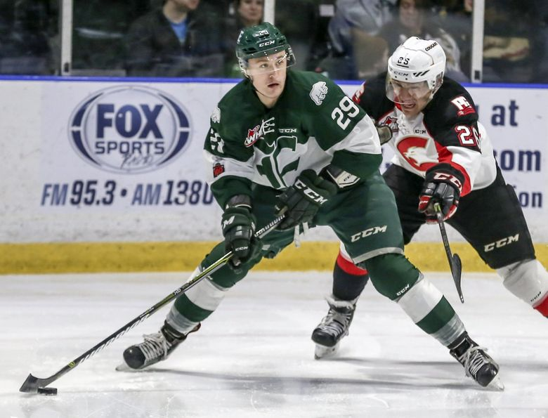 Lake Stevens' Wyatte Wylie, formerly of the WHL Everett Silvertips, is a Philadelphia Flyers prospect at age 19. The NHL's new team in Seattle is expected to fuel more interest in youth hockey. (Kevin Clark / The (Everett) Herald)
