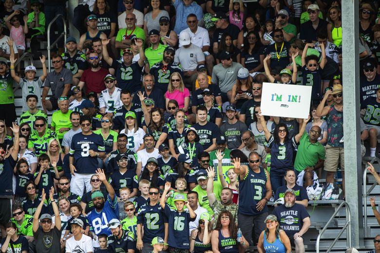 The Seattle Seahawks held a sold out public practice at Pop Keeney Stadium in Bothell, WA, Saturday August 3, 2019. (Dean Rutz / The Seattle Times)
