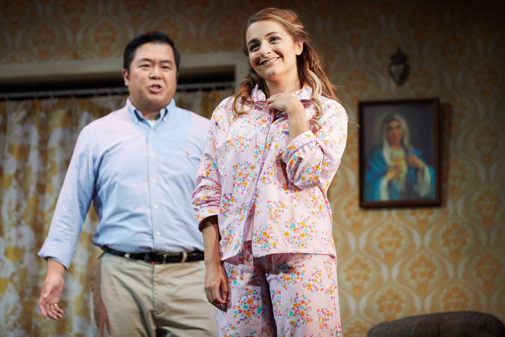 "Yongzhao Yu as the Duke of Mantua and Soraya Mafi as Gilda in Seattle Opera's ""Rigoletto."" (Philip Newton)"