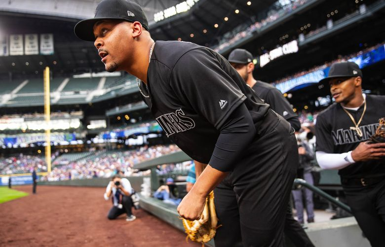 Justus Sheffield takes the field for his first major league start. (Dean Rutz / The Seattle Times)