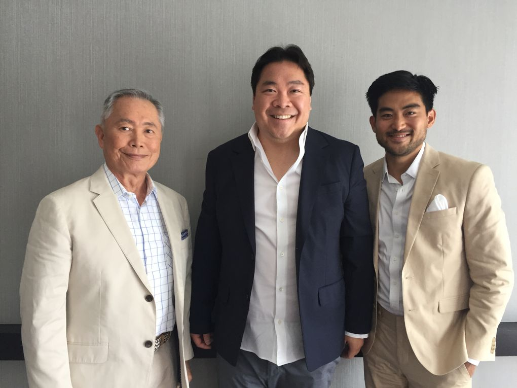 """George Takei, left, Alexander Woo and Derek Mio from AMC's """"The Terror: Infamy."""" (Amy Wong / The Seattle Times)"""