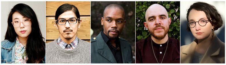This combination of photos released by The Poetry Foundation shows, from left, Franny Choi, Michael Wasson, Justin Phillip Reed, Jose Olivarez and Jane Huffman who are the recipients of the Ruth Lilly and Dorothy Sargent Rosenberg Poetry Fellowship. (The Poetry Foundation via AP)