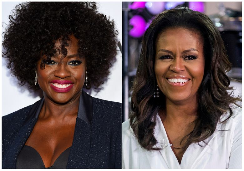 """This combination photo shows actress Viola Davis at the Glamour Women of the Year Awards in New York on Nov. 12, 2018, left, and former first lady Michelle Obama on NBC's """"Today"""" show in New York on Oct. 11, 2018. Davis is set to portray Obama in a Showtime series about America's first ladies. Davis also is an executive producer on the project, which is still in development. (Photos by Evan Agostini, left, and Charles Sykes/Invision/AP)"""