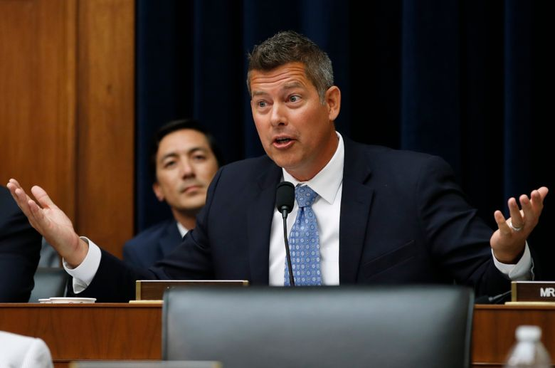 FILE – In this July 18, 2018, file photo, Rep. Sean Duffy, R-Wisc., asks a question of Federal Reserve Board Chair Jerome Powell during a House Committee on Financial Services hearing on Capitol Hill in Washington. Duffy, who represents northern Wisconsin in Congress, is resigning in September 2019. Duffy posted on his Facebook page Monday that he was resigning on Sept. 23 to spend more time with his family. (AP Photo/Jacquelyn Martin, File)
