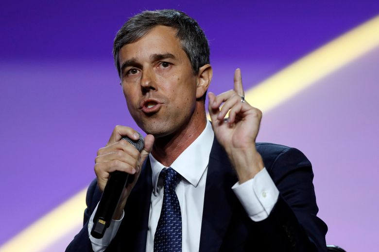 FILE – In this July 24, 2019, file photo, Democratic presidential candidate former Texas Rep. Beto O'Rourke, speaks during a candidates forum at the 110th NAACP National Convention in Detroit.  As the U.S. economy flashes recession warning signs, Democratic presidential candidates are leveling pre-emptive blame on President Donald Trump. They argue that his aggressive and unpredictable tariff policies are to blame for gloomy economic forecasts.  (AP Photo/Carlos Osorio)