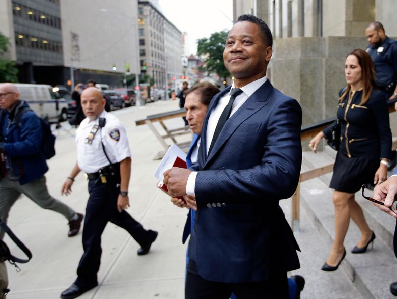 FILE – In this June 13, 2019 file photo, Cuba Gooding Jr. leaves criminal court in New York. A New York City judge has rejected actor Cuba Gooding Jr.'s request to have his groping case thrown out. (AP Photo/Frank Franklin II, File)